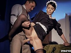 Hell seductive maid is getting butt fucked upskirt