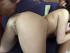 This chick loves the rough treatment. She bends over indicating how bad she wants her lover to drive his huge black cock into her tight pussy. Horny dude can't decline her offer. He pounds her mercilessly in and out loosening up her once tight hole.