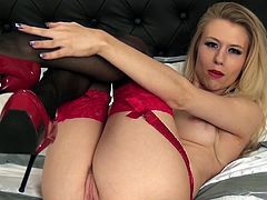 Michelle Moist plays with herself in high heels and lingerie