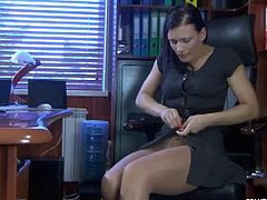 Gorgeous milf Sibylla dressing in her office. She loves putting her favorite pantyhose while teasing us flaunting her nice ass and shaved cunt. What a milf!