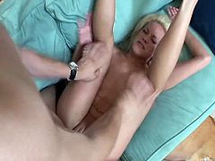 Watch as this nasty perverted blonde MILF go down for a tasty young boner as her sweet pussy swells for hard hammering.