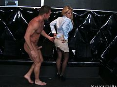 Capriva Cavanni looks simply stunning in her sexy black stockings. Sex-starved blonde knows exactly what she wants from Johny Castle. She spreads her sexy legs wide indicating how bad she wants him to drive his cock into her tight twat. Johny pounds her mercilessly in and out loosening up her once tight hole.