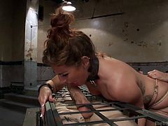 This dirty slut is tied up tightly in rope, and her master makes her bend over so that he can put his hand in her ass crack and pull on her hair. She has to suck the male slaves cock, and he is encased in a very small cage.