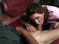 This naughty milf Julia Ann is addicted to cocks. She never let go of it until they explode and release their hot load on her pouty face. Watch her pouty lips all over the lucky dick.
