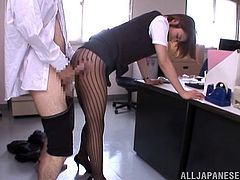 Take a look at this hot scene where the sexy Emily Takahash sucking one of her coworker's hard cock in the middle of the office.