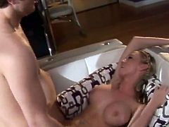 Sexy Madison Scott takes off her clothes and then gives a nice blowjob. After that Madison gets her pierced pussy licked and fucked.