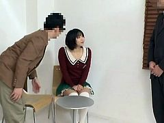 Slutty Japanese milf shows her big natural tits to a guy and lets him rub them. Then they fuck in the missionary position and seem to enjoy it a lot.
