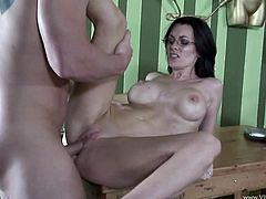 A motherfuckin' brunette bitch sucks on a hard cock and fuckin' takes it balls deep into her fuckin' cunt, hit play and check it out!