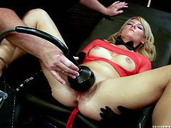Stunning handcuffed blonde gets her pussy stuffed and vibrated