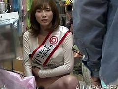 Salacious Japanese mom Miki Torii is playing dirty games in a shop. She hides among the rows and masturbates her twat.