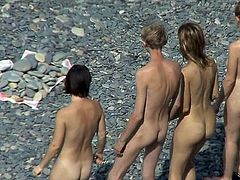 All these nude gals exposing their nude forms at the beach are keeping horny voyeur hard like never before