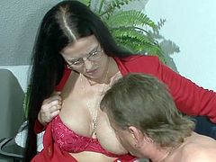 Never did mature lady had such pleasure in fucking her cramped pussy and shaking those fine natural boobs