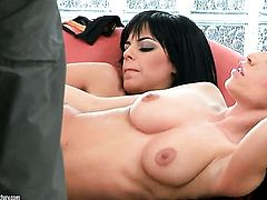 Brunette Black Angelika with giant jugs and Mya Diamond have a lot of lesbian sexual energy to spend