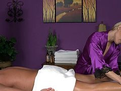 Golden masseuse amazes guy with her cock sucking skills during insolent and passionate massage moment