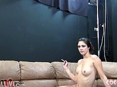 Lia Lor and Anatasia Morna sit on couch in sexy nee socks smoking cigs. Later Anatasia spreads her long legs letting one dude lick and finger bang her wet hairy cunt.