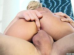 Big-breasted blonde Claudia Valentine gives a deepthroat blowjob Johnny Sins and licks his balls. Then they fuck in the cowgirl position and have doggy style anal sex.