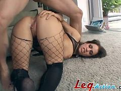 A gorgeous babe in fishnet pantyhose gives a deepthroat blowjob. Then Mia lies down on a floor and gets rammed in the ass.