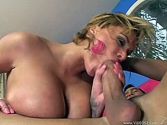 The busty Shyla Stylez is playing with a big dick. This slutty chick enjoys getting her pussy banged in each and every sex position.