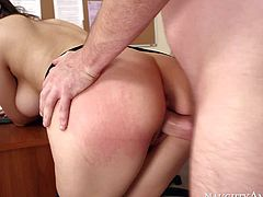 Italian chick Valentina Nappi is a new sex employee at the office. This long haired brunette with lovely ass and big natural boobs gets her pussy drilled by hard dicked IT guy and she loves it!