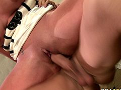 Adorable blonde with massive boobs gets her twat rammed hard on the boss's table. Then she climbs on his big shlong and rides it reverse. Her assets bounce like crazy.