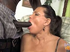 Check out horny brunette slut Teri Weigel in the middle of a nasty threesome fuck with two big black cocks. These dude switch turns to fuck her pussy so hard.
