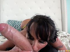 Make sure you take a look at Holly Halston's amazing ass in this hardcore scene before this sexy milf sucks and rides this guy's massive dick.
