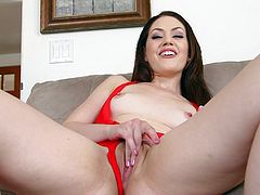 Get a hard pole by watching this brunette babe, with natural breasts and a shaved pussy, while she masturbates before getting face fucked roughly.
