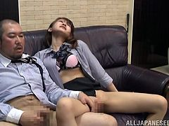 A slutty Japanese milf is playing dirty games with her boss indoors. The slut shows her snatch to the dude and lets him finger her pussy lips.