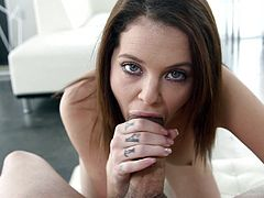 What are you waiting for? Watch this brunette babe, with natural breasts wearing a sexy bra, while she performs a tasty blowjob after masturbating.