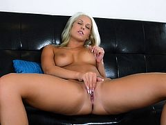 Curvy blonde Blanche Bradburry takes her thong off and demonstrates her ass for the cam. Then she finger-fucks her twat and moans loudly with pleasure.