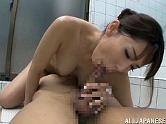 A lovely Japanese babe gets her boobs massaged and licked in a bathroom. Then Yui gives a blowjob with pleasure and gets fucked on a floor.