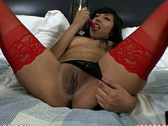 Black haired rapacious tramp in red stockings lied in bed with her legs spread apart. That Sweetie employed big dildo to please her tacky black pussy. Look at this filthy wench in My XXX Pass sex clip!