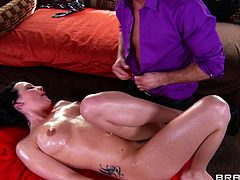 The gorgeous Katie St. Ives gets turned on by her masseur and ends up riding his cock and getting her mouth filled with his hot cum.
