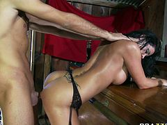 Horny busty and curvy dark haired bitch spreads her legs and gets her cunt fucked hard. Have a look at this chick in Brazzers Network sex video.