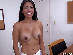Soffie is a cute dark haired milfy sexy from Colombia. Shes a cleaning lady at the office and strips naked in front of the camera eagerly to earn some extra money. She demonstrates her perfect big tits and adorable round ass eagerly.