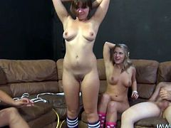 These sex-starved chicks do their best to wear their lovers out, with pussies wrapped around their cocks. Press play and get ready for the hottest group sex video.