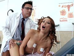 The amazing redhead Monique Alexander gets surprised as her doctor Marco Banderas gives her a hard face fuck at his office.