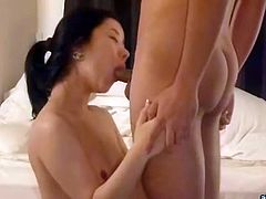 Black haired Korean slut with small tits is all naked gives messy blowjob to her client. Sweetie jerks off that dick and then rides it like a cowgirl.