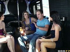 Mary Jane Mayhem, Rahyndee James and Abby Cross are ready for some hardcore banging in a luxurious vehichle. After blowing this lucky dude they switch turns on his shaft.