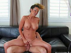 Sporty milf Raquel Devine with athletic body and perfect fake tits is damn sexy in her 4 -something. She gives headjob to her sons young hard dicked buddy and then takes his pole in her neatly trimmed pussy.
