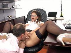 Sexalicious brunette babe gets her soaking wet pussy licked properly. Horny boss drills her snatch in a missionary position pounding intensively. Then he bends her over the table and fucks her hard doggy style.