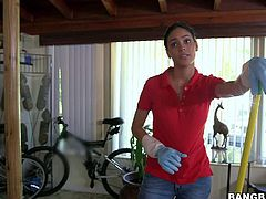 sexy maid Jasmine Caro is a such a cutie! This lovely brunette in tight blue jeans takes off her red t-shirt and her bra before she shows her amazing big tits. She cleans the house topless!