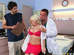 Check out this hardcore scene where doctor Christie Stevens blows a patient before being fucked and splattered with jizz by him.