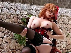 Zealous milk skinned redhead bitch Tara White looks scorching hot in red shoes and lingerie. Hottie moans with joy while rubbing her meaty hairy cunt.