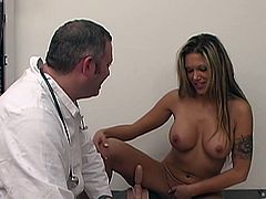 Amazingly hot Anna Nova toys her sexy little shaved pussy in the doctor's office and gets drilled by a big vibrator machine.