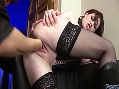 This dirty whore in black stockings likes to be on top. She climbs on top of her lover and fucks him hard in this position. Then he fists her pink pussy really hard.