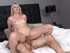 A pretty blonde with small, natural tits and a hot ass enjoys sucking an older man's huge cock. Hear him scream with pleasure now!