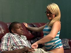 A blonde girl in glasses gives a blowjob to a Black dude and gets her hot pussy licked. After that she gets fucked like never before.