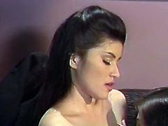 Short haired bosomy hottie asked her sexy slender chick lie on sofas and spread her legs wide to get nice cunnilingus. Have a look at that fancy lesbo fuck in The Classic Porn sex video!