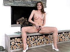 Brunette Sophie Moone cant live a day without dildoing her hole